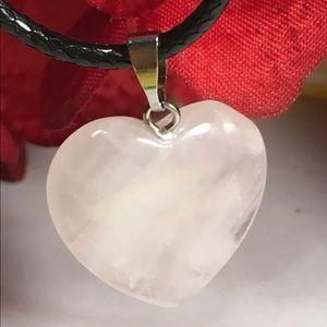 Light Pink Rose Quartz Heart Pendant